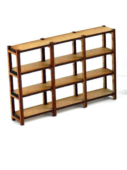 1 32 lagerregal 3 fach vier b den bausatz holz unbemalt. Black Bedroom Furniture Sets. Home Design Ideas