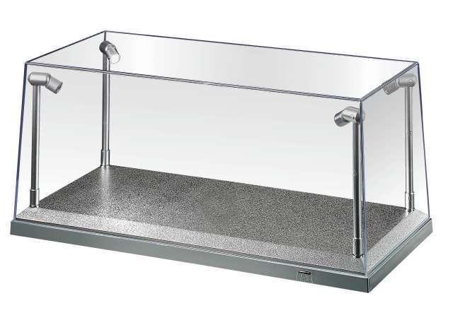 agri at32912 gro e vitrine mit beleuchtung 35x15x16cm silber. Black Bedroom Furniture Sets. Home Design Ideas