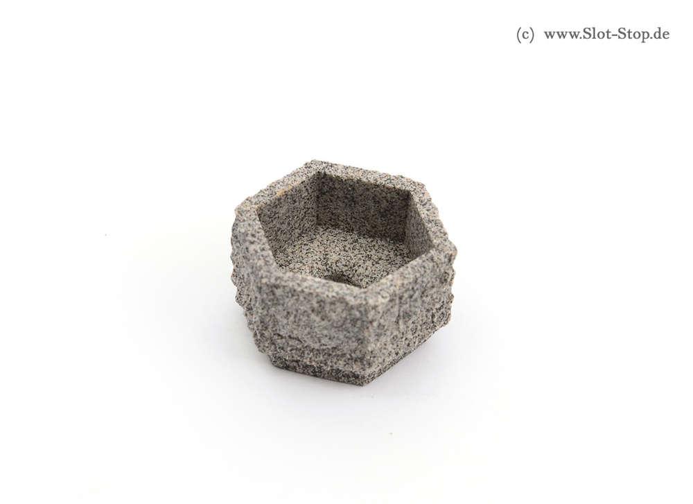 Miniaturbeton - Pflanzkübel - Sechseckig - grau 1:32